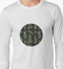 Watercolor pine branches pattern on black background Long Sleeve T-Shirt