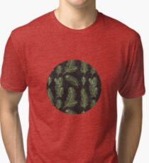 Watercolor pine branches pattern on black background Tri-blend T-Shirt