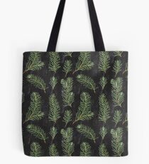 Watercolor pine branches pattern on black background Tote Bag