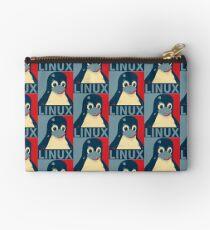 Linux Tux penguin poster head red blue  Studio Pouch
