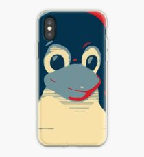 Linux Tux penguin poster head red blue  iPhone Case