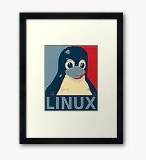 Linux Tux penguin poster head red blue  Framed Print