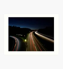 slow shutter speed on motorway Art Print