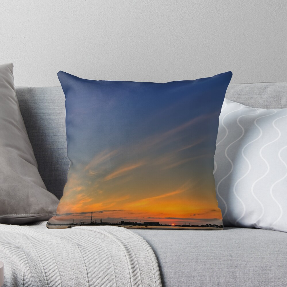 Sunset River Thames Grays Throw Pillow