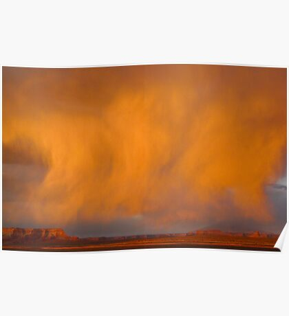 Cloud burst at sunset Poster