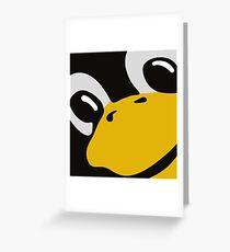 linux tux penguin eyes Greeting Card
