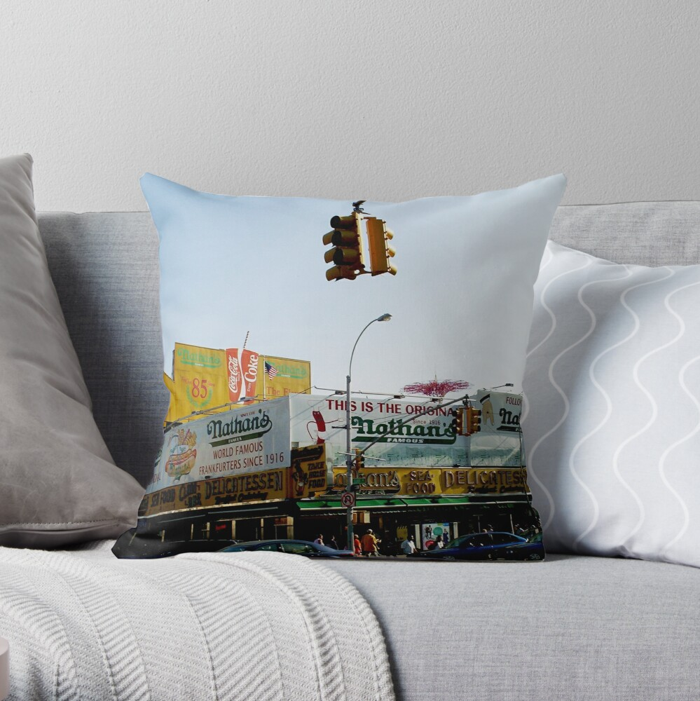nathan's coney island  Throw Pillow