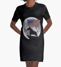 Moon Bull Terrier USA Flag - Funny Bull Terrier Fawn and White Design Graphic T-Shirt Dress