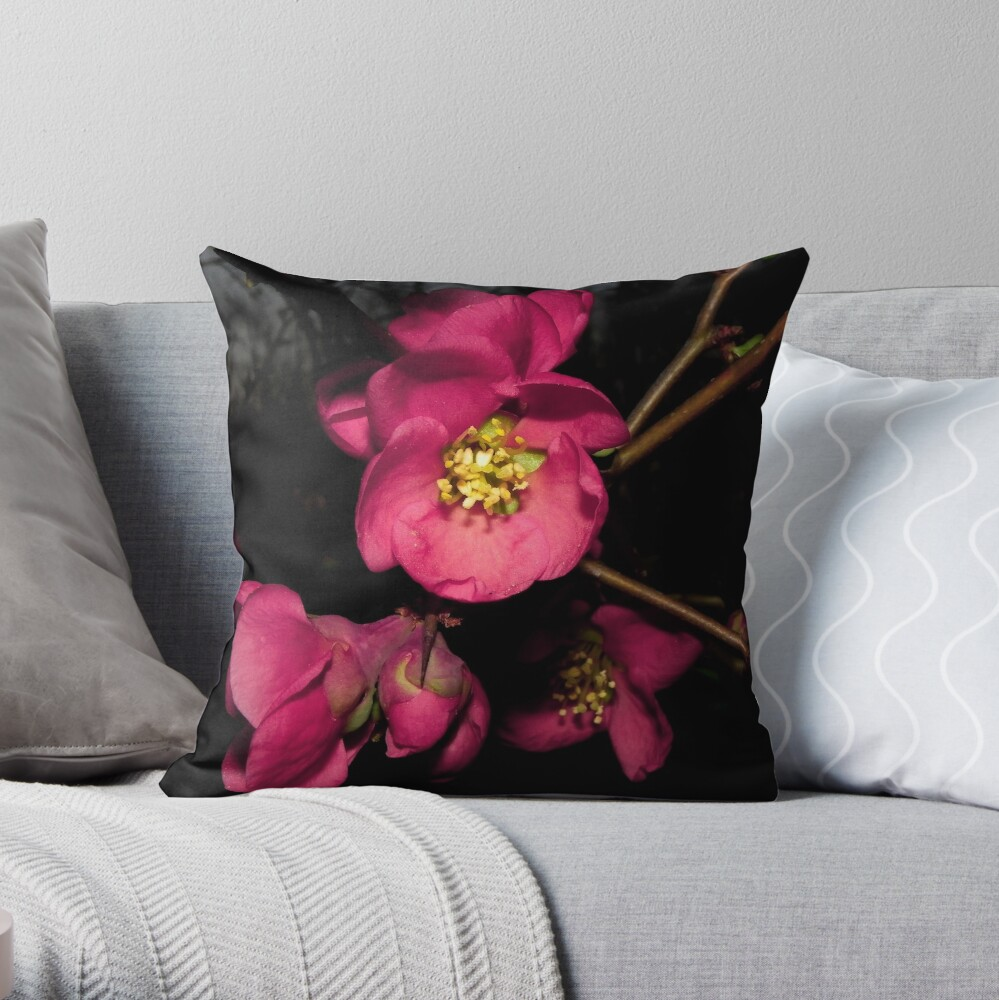 The Lovely Flowering Quince Throw Pillow