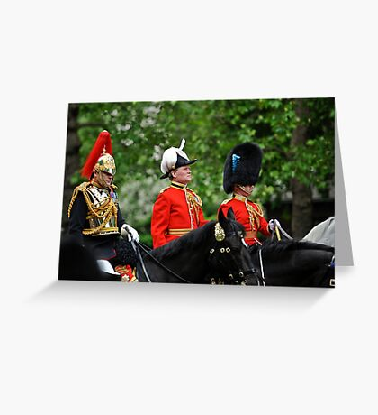 Three Big Hats: Trooping the Colours. London. UK Greeting Card