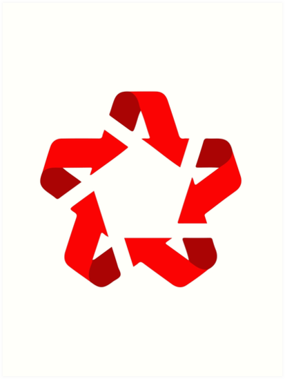 Recycle Red Star Symbol Of New Communism Era Art Prints By