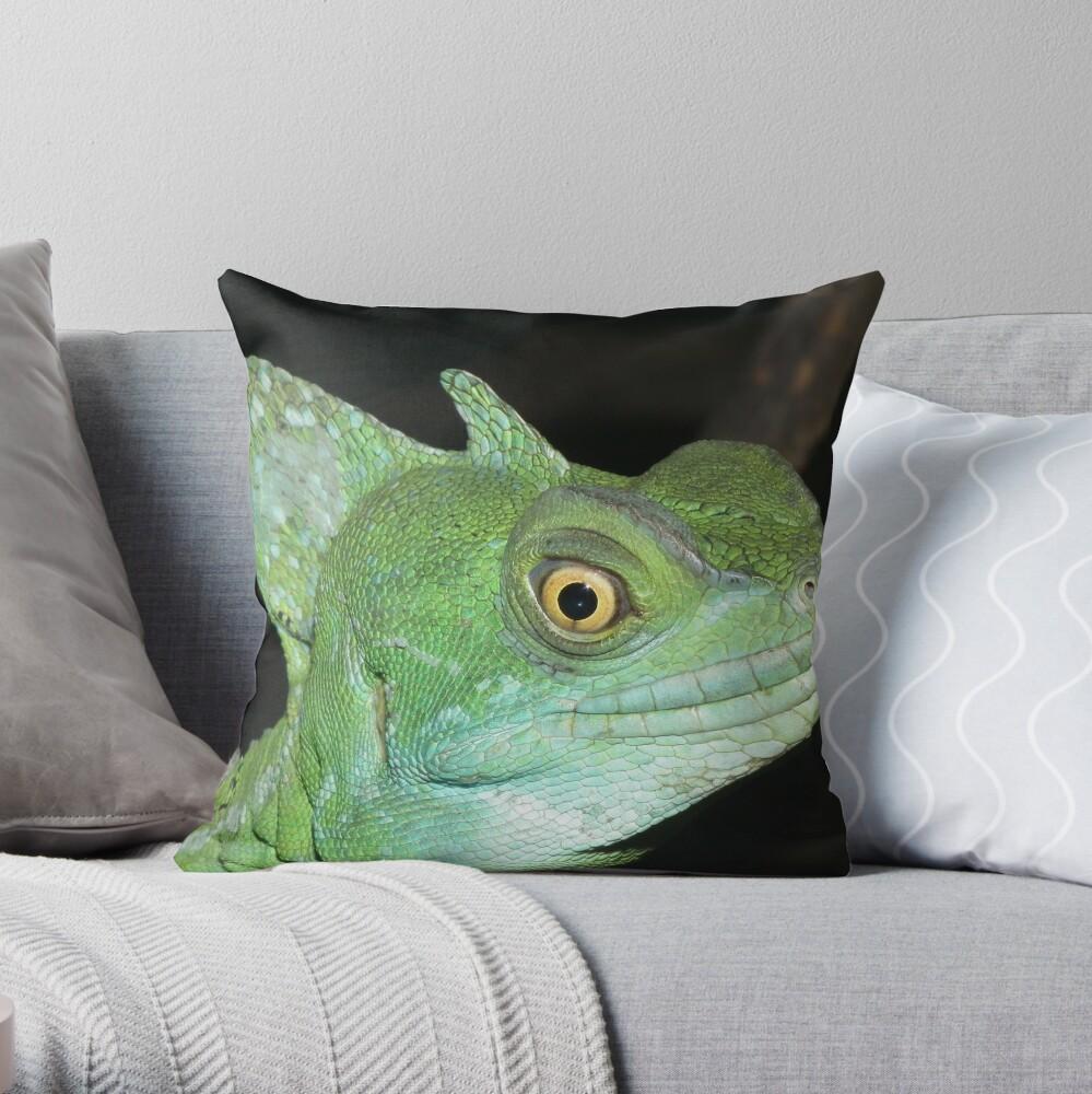 Green Basilisk Throw Pillow