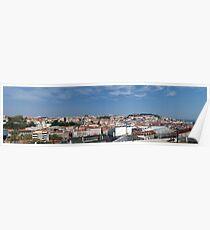 Panoramic shot of Lisbon's old neighbourhoods Poster