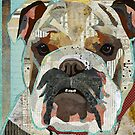 English Bulldog Portrait Colorful Collage Art  by traciwithani