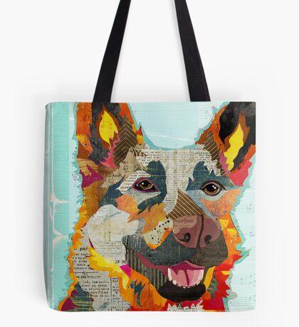 German Shepherd Dog Portrait Colorful Collage Art  Tote Bag