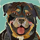 Rottweiler / Rottie Dog Portrait Colorful Collage Art  by traciwithani