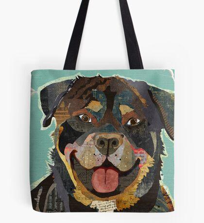 Rottweiler / Rottie Dog Portrait Colorful Collage Art  Tote Bag