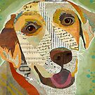 Yellow Lab / Labrador Retriever Dog Portrait Colorful Collage Art  by traciwithani