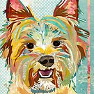 Yorkshire Terrier / Yorkie Dog Portrait Colorful Collage Art  by traciwithani