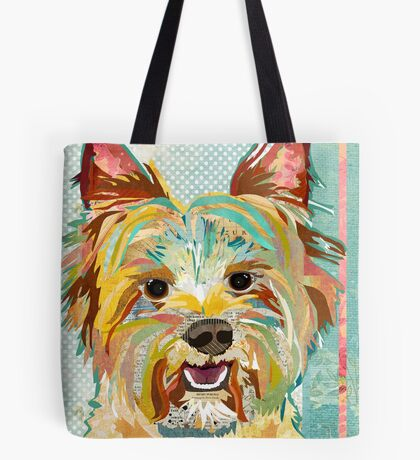 Yorkshire Terrier / Yorkie Dog Portrait Colorful Collage Art  Tote Bag