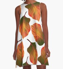 Tropical Leaves in Orange A-Line Dress