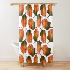 Tropical Leaves in Orange Shower Curtain