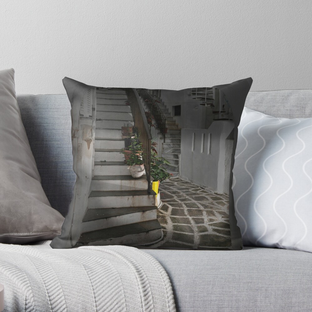 Two Staircases and an Alley Throw Pillow