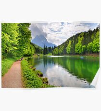 Green Lake and the Mountains Poster
