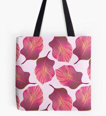 Tropical Leaves Pattern in Pink Tote Bag