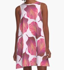 Tropical Leaves Pattern in Pink A-Line Dress