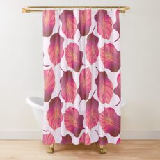 Tropical Leaves Pattern in Pink Shower Curtain