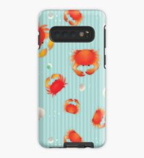 Red Crabs Pattern on Blue Case/Skin for Samsung Galaxy