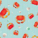 Red Crabs Pattern on Blue by tanyadraws