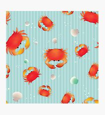 Red Crabs Pattern on Blue Photographic Print