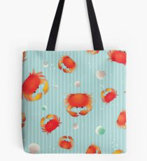Red Crabs Pattern on Blue Tote Bag