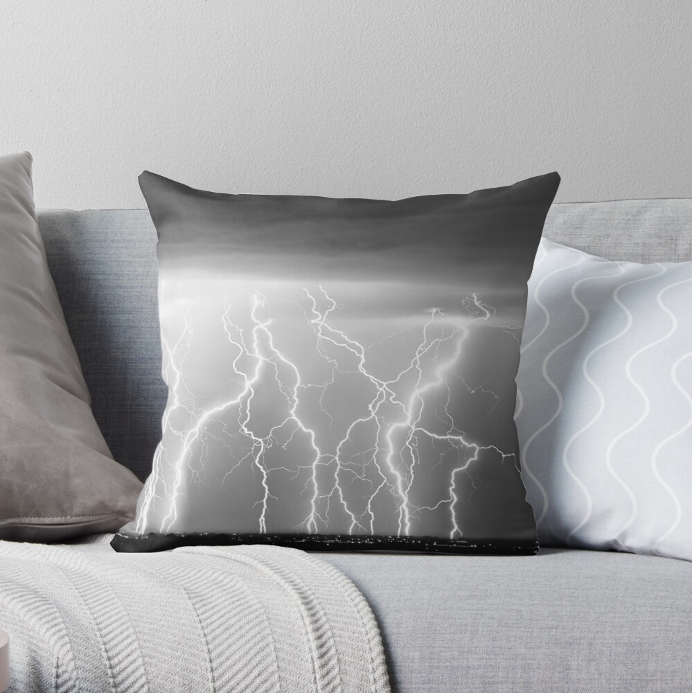Eletric Skies in Black and White  Throw Pillow