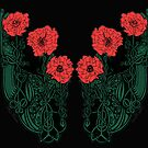 Red and Green Celtic Poppies by Mastiff-Studios
