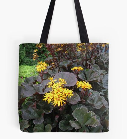 Golden Petals and Purple Leaves Tote Bag