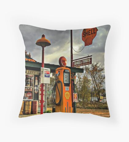Shell Gas Station Throw Pillow