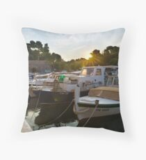Boats in Fosa Throw Pillow