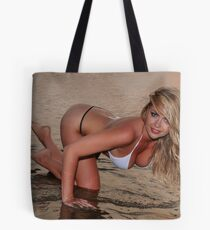 beautiful full body blond busty woman posing sexy on golden sunset beach Tote Bag