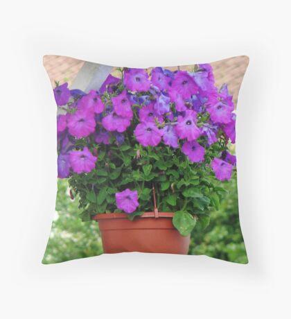 Hanging Basket with Velvety Purple Petunias Kissen