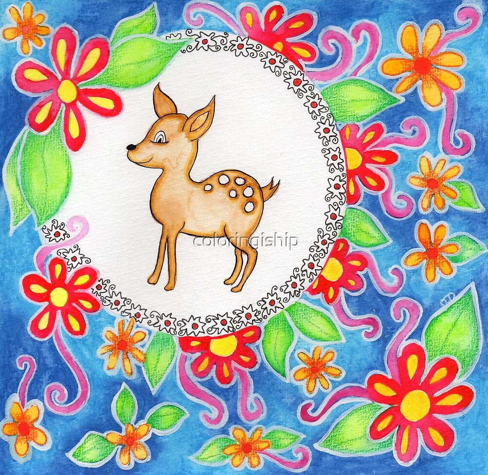Watercolor Deer by coloringiship