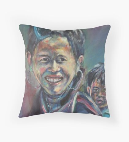 cambodian mother and son Throw Pillow