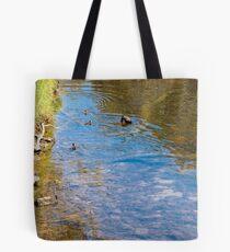 Downward Duck in Swirly Waters Tote Bag