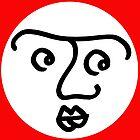 «Cara que se pregunta en el círculo en el tablero rojo» de Istvan Ocztos
