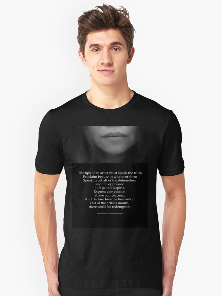 The Lips of an Artist must Speak the Truth Unisex T-Shirt Front