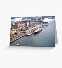 Circular Quay (West), The Rocks  & Royal Yacht Britannia, Sydney 1963 Greeting Card