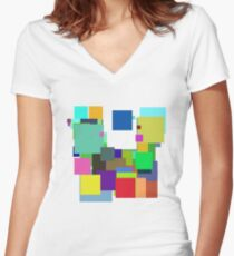 Colorful Square Women's Fitted V-Neck T-Shirt