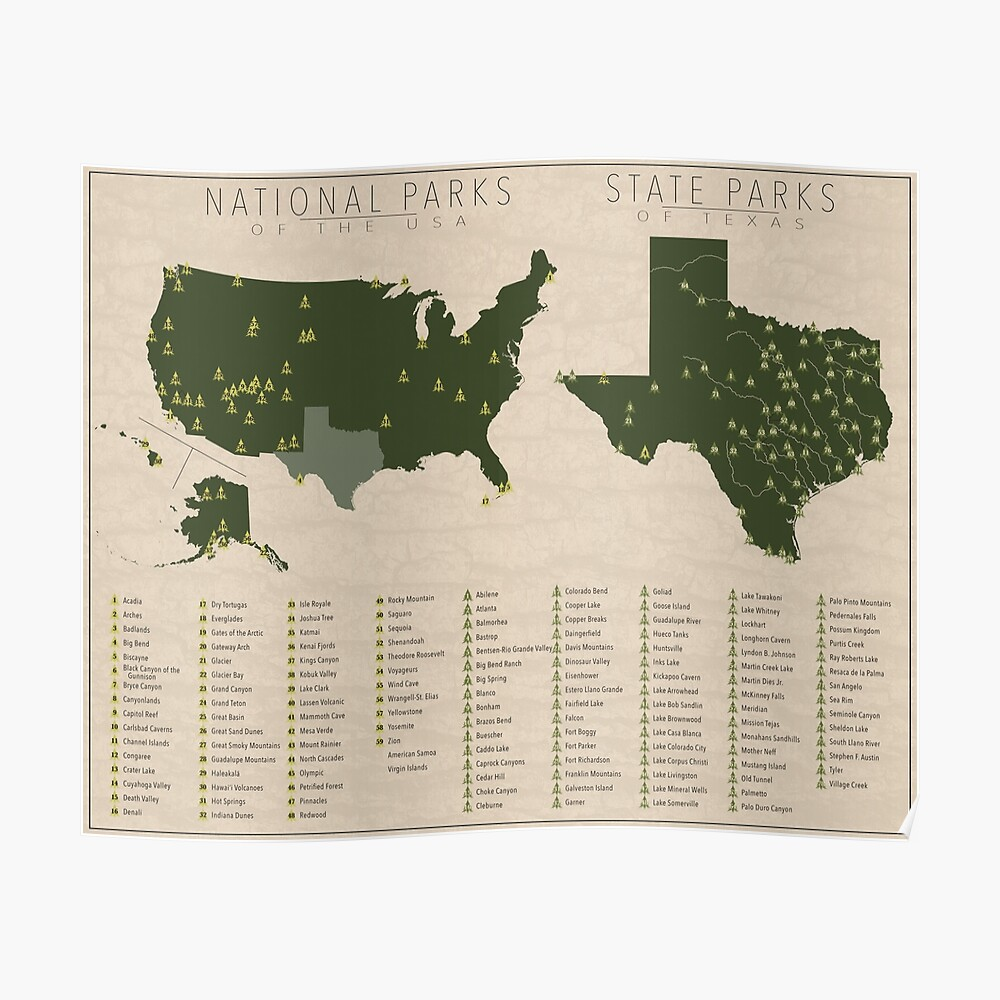 US-Nationalparks - Texas Poster